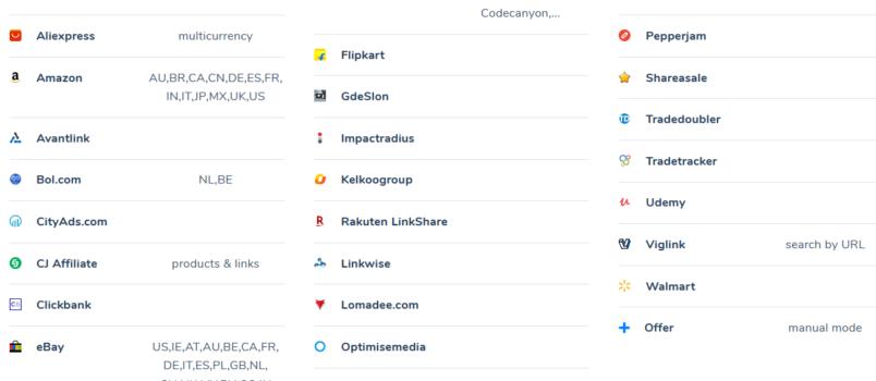 Unterstützte Shops und Module von Content Egg.