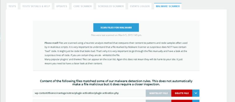 Der Malware Scanner überprüft wichtige Daten auf Infizierung.