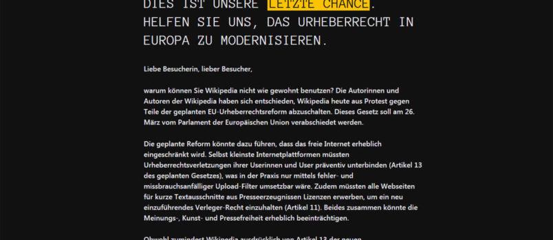 Keine Informationen an diesem Tag: Wikipedia ist heute nur schwarz.
