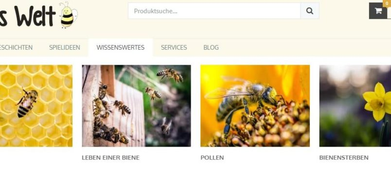 Das WP Mega Menu Plugin im Einsatz in Bienes Welt, einer Seite für pädagogische Inhalte.